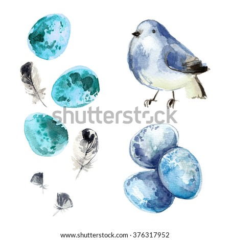 Bird painted with watercolors on white background. Quail eggs. Decor for Easter. Feathers of birds. Colored eggs. - stock photo