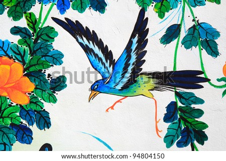 bird painting on a wall in Chinese temple - stock photo