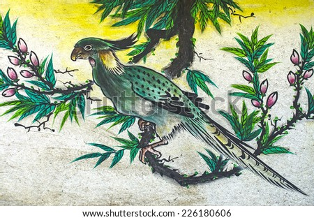 Bird painting on the wall in Chinese temple  - stock photo