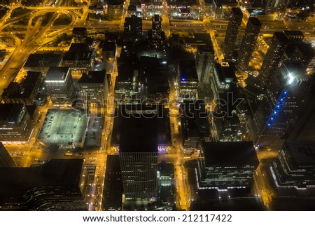 Bird's eye view of downtown Chicago at night. - stock photo