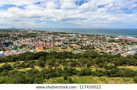 Bird's eye view of Hua-hin City, Prachuapkhirikhan Province, Thailand. - stock photo