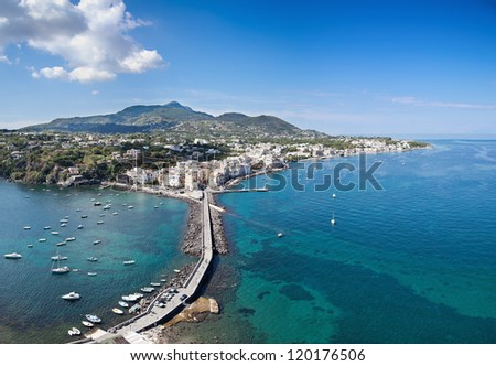Bird's eye view of Ischia Ponte, Ischia island - Italy. Image assembled from four vertical frames
