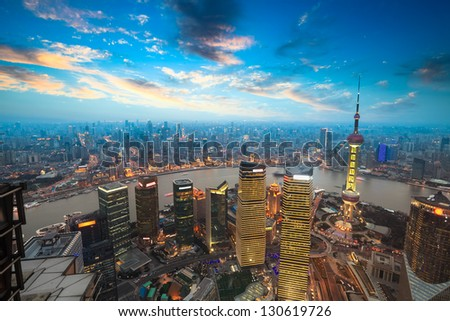 bird's eye view of shanghai in sunset - stock photo