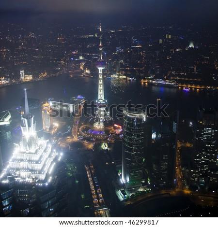 Bird's eye view of Shanghai Pudong at night - stock photo
