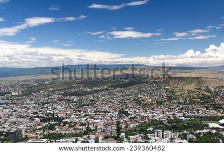 Bird's eye view of the capital Tbilisi Republic of Georgia - stock photo