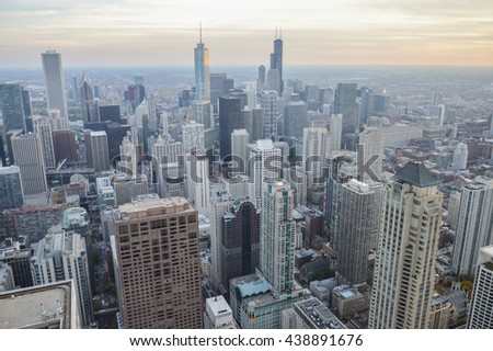bird's-eye view of the city of Chicago in the United States with endless skyscrapers. in the photo are no trademarks or recognizable people - stock photo