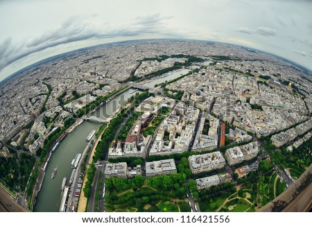 Bird's eye view of the city of Paris ,France  - stock photo
