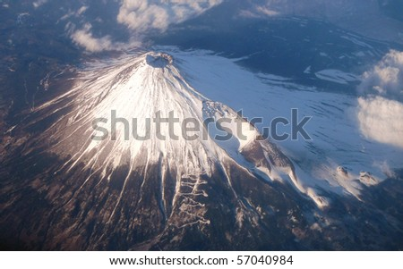 Bird's eye view of the mouth of the volcano - stock photo