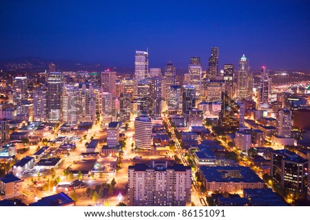 Bird's eye view of the Seattle - stock photo