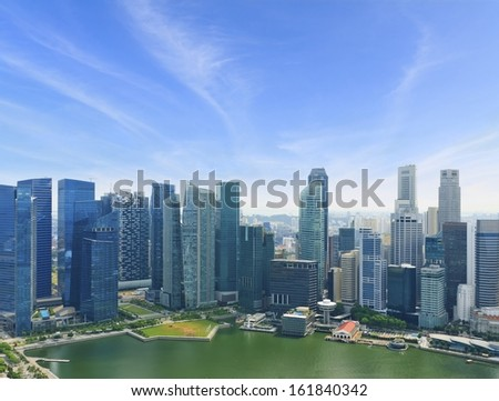 bird`s eye view of The Singapore Business center.