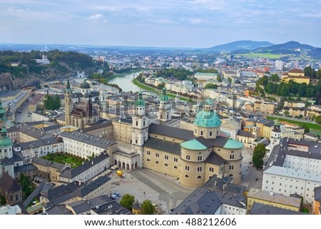Bird's eye view on domes of Salzburg Cathedral (Salzburger Dom), Austria