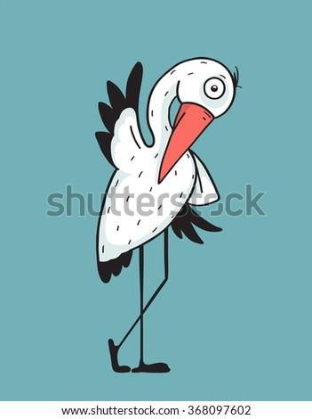 Bird stork flat design. Mascot and wing, nature and beak, wildlife.  Raster variant. - stock photo
