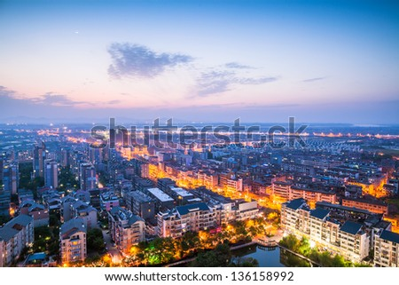 bird view of Fuzhou city at night, Jiangxi Province China - stock photo