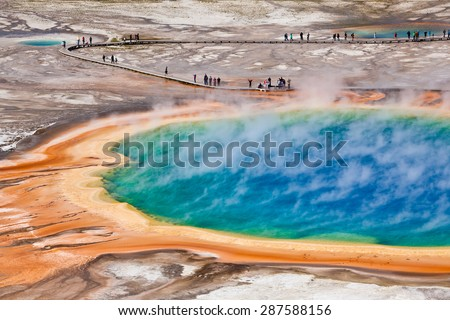 bird view of Grand Prismatic Spring - Yellowstone national park - stock photo