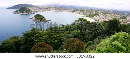 Bird view of San Sebastian city and sea from Igueldo - stock photo