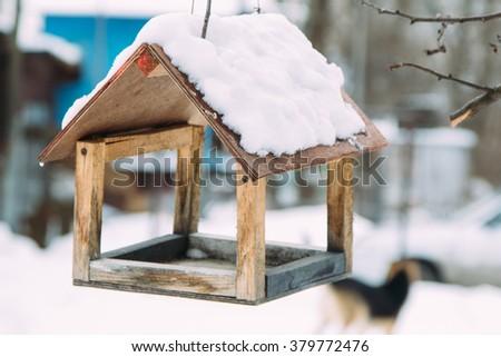 birdhouse, bird feeder - stock photo