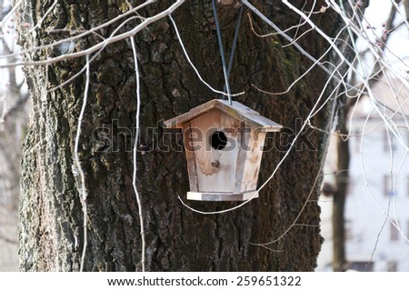 birdhouse hanging on the tree in the city - stock photo