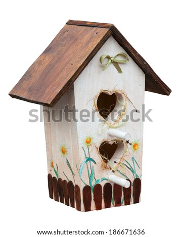 Birdhouse isolated on white. Clipping path included. - stock photo