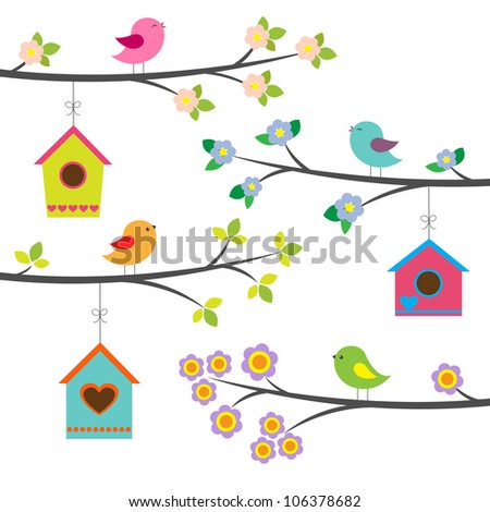 Birds and birdhouses. Raster version - stock photo