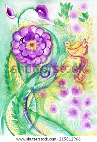 birds  and flowers - stock photo