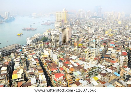 Birds-eye view of Macau in the sunshine morning. - stock photo