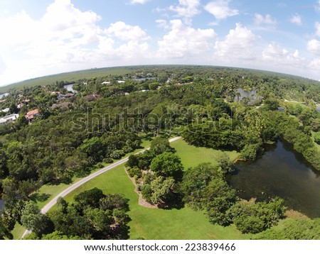 Birds eye view of park and lake in Florida - stock photo