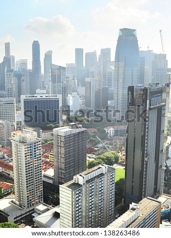 Birds-eye view of Singapore downtown in the sunny morning - stock photo