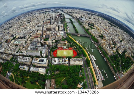 Birds eye view of the city of Paris ,France - stock photo