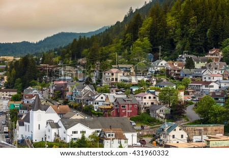 Birds eye view on historic residential neighborhood in Ketchikan Alaska