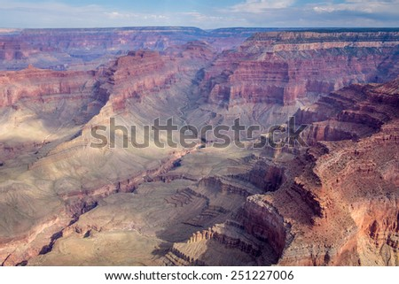 Birds eye view on the west rim of the Grand Canyon National Park in the US - stock photo