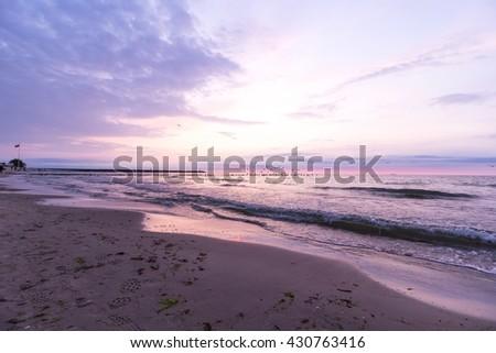 Birds flying over the breakwater, Baltic Sea, Poland - stock photo