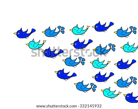 Birds flying with leadership concept - stock photo