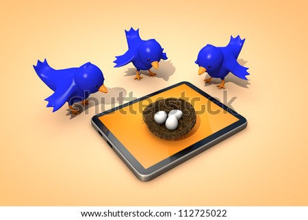 birds look at the tablet - stock photo