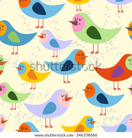 Birds seamless pattern. background of lovely colored birds. retro Onament for baby fabrics  - stock photo