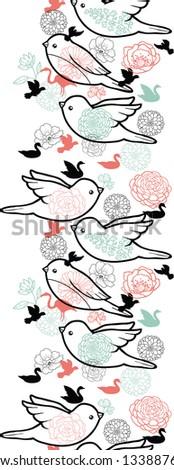 Birds silhouettes vertical seamless pattern background border raster - stock photo