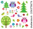 Birds,tress and owls.Raster version - stock photo