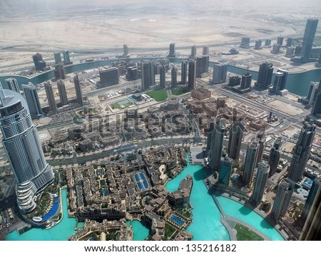 Birds view of Dubai city center - stock photo