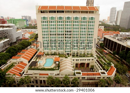 Birds view of five star hotel, Singapore - stock photo
