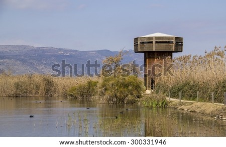 Birds watchingTower in Hula Nature Reserve in north Israel.Lake Hula - Israel Nature and Wildlife Park