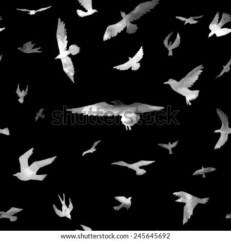 Birds. Watercolor seamless pattern. Raster illustration. - stock photo