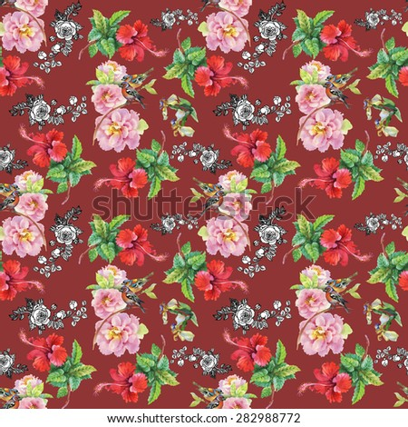 Birds with watercolor garden flowers seamless pattern on vinous background - stock photo
