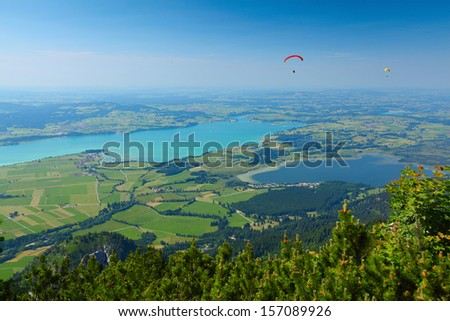 Birdseye view of green valley with lakes. Germany