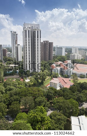 Birdseye view of residential area in Singapore - stock photo