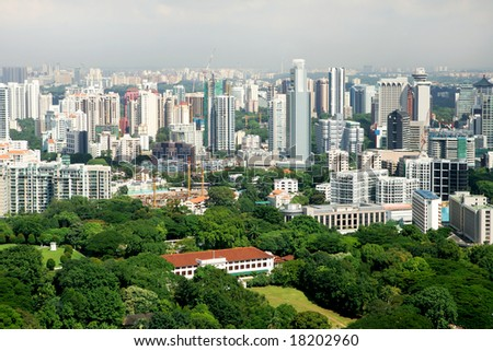 Birdseye view of residential downtown, Singapore - stock photo