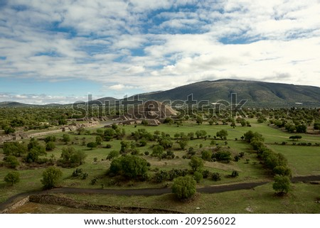 birdseye view of the pyramid of the Moon from the top of the pyramid of the Sun in Teotihuacan - stock photo