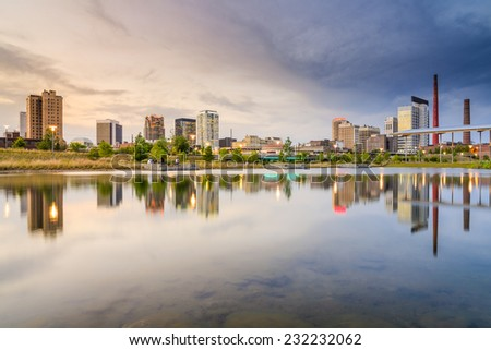 Birmingham, Alabama, USA skyline at Railroad Park. - stock photo