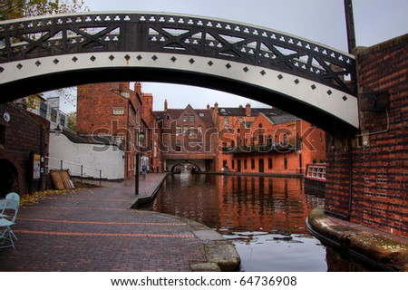 Birmingham Canals and the old buildings around the Gas Street Basin - stock photo