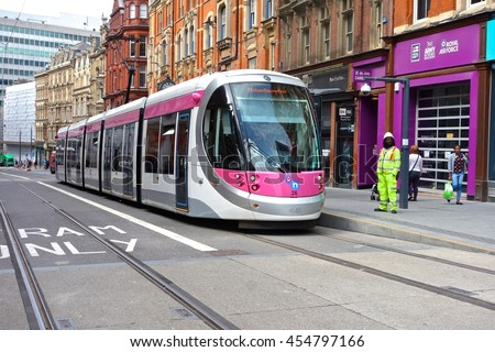 BIRMINGHAM, ENGLAND - JUL 5. The new Birmingham tram system linking the City Centre with Wolverhampton opened in July, 2016 in Birmingham, England - stock photo