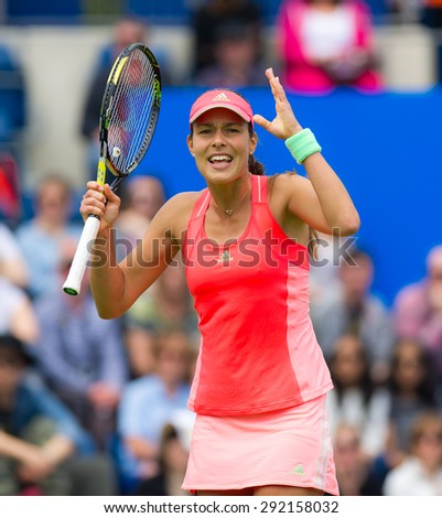 BIRMINGHAM, GREAT BRITAIN - JUNE 17 :  Ana Ivanovic vents frustration at the AEGON Classic 2015 WTA Premier tennis tournament - stock photo