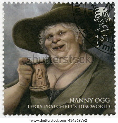 BIRMINGHAM, GREAT BRITAIN - MARCH 08, 2011: A stamp printed in Great Britain shows portrait of Nanny Gytha Ogg, series Magical Realms - stock photo
